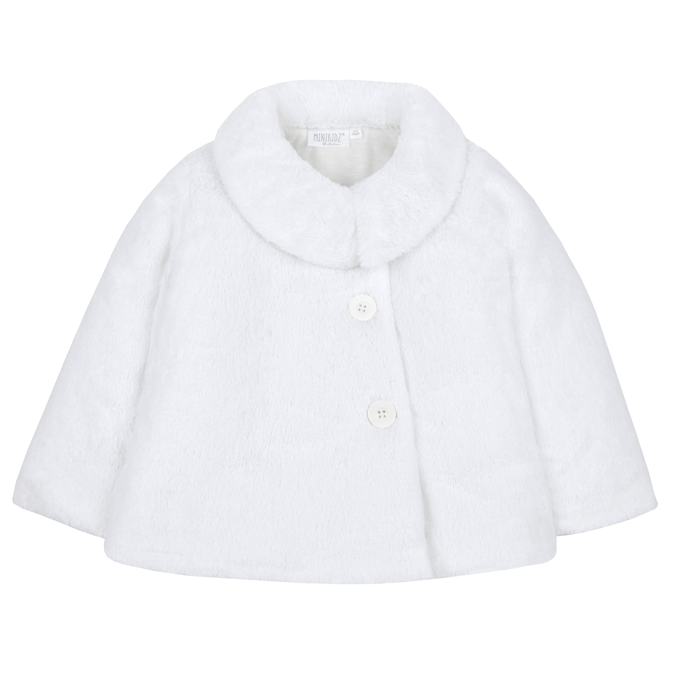 Metzuyan Infant Girls Fluffy Winter Button Up Swing Coat White 3-4 Years