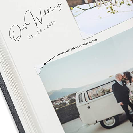 8x10 Dry-Mount 4x6 Anniversary Baby Shower 5x7 Gold Stamped Vacation 50 pages//100 Sheets Wedding Picture Scrapbook La Lente Premium Photo Album Large Customizable Graduation or Travel