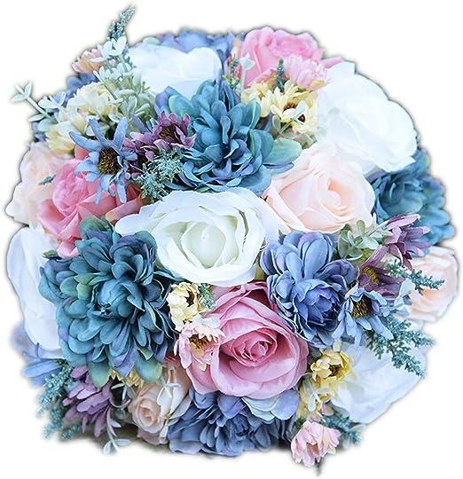 Ramo de flores silvestres de color azul vintage para boda, ramo de ...