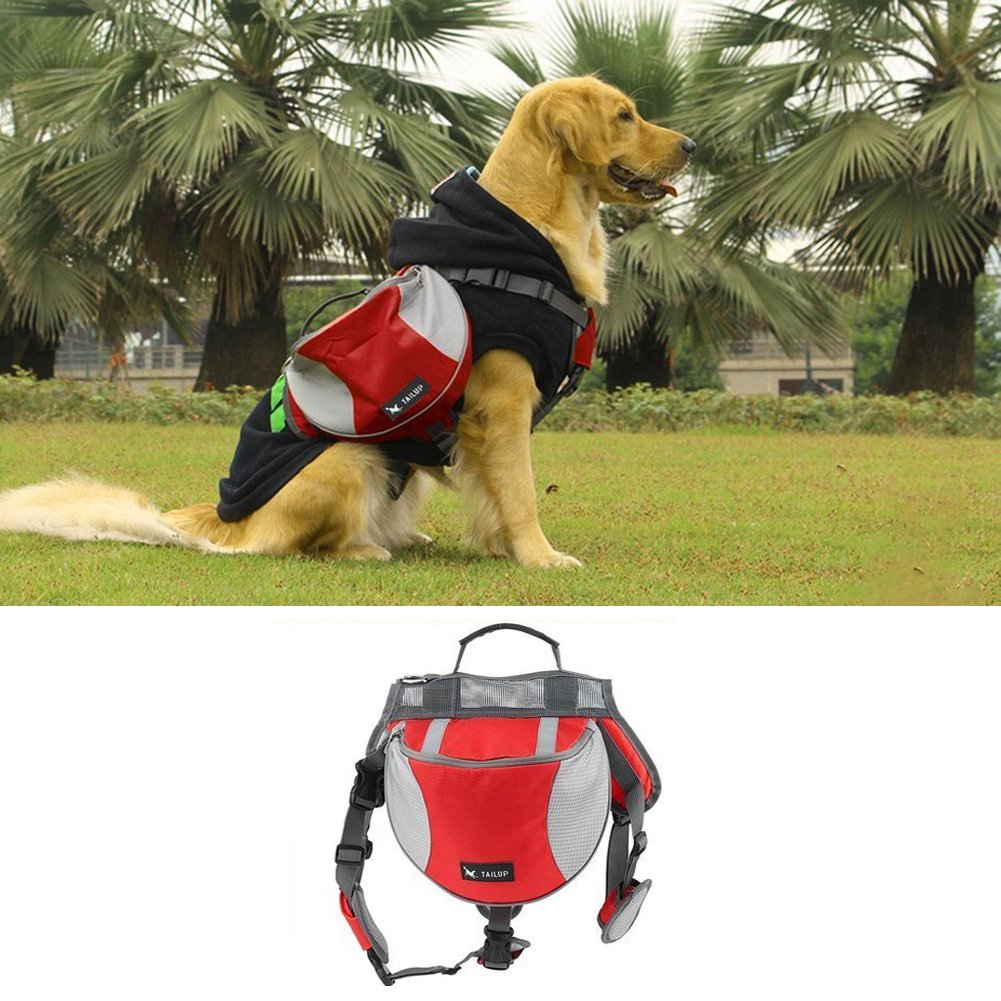 Pet Backpack Dog Backpack Carrier Large Adjustable Dog Saddle Bags Lightweight for Outdoor Hiking Camping Training - Hmjunboys (L, Red)