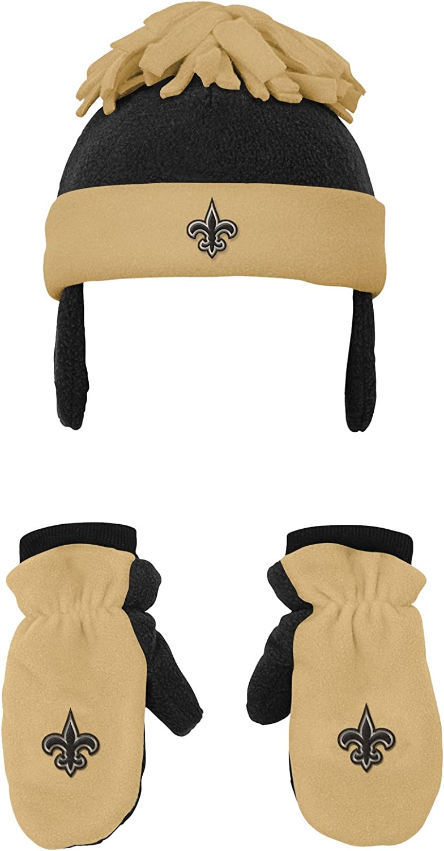 New Orleans Saints NFL Toddler 2 Piece Winter Set Fleece Hat and Mittens Black-1 Size