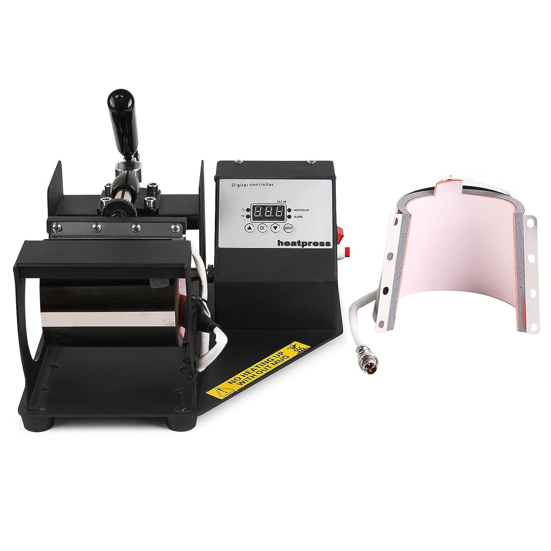BuoQua Pressa Di Calore Trasferimento Press Heat Machine Mug 2 In 1 Timer Digitale LCD Scivoli Via Design Rigido Telaio In Acciaio Multifunzioni 2 In 1