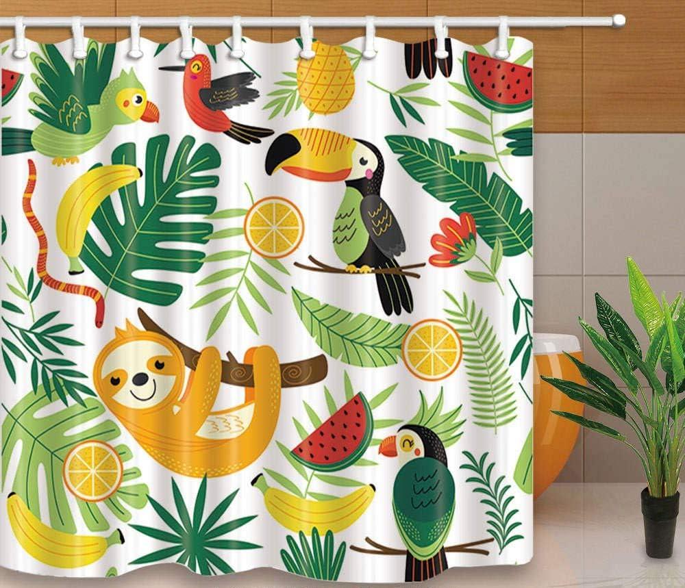 YEDL Nuevo diseño Creativo Cortinas de Ducha Aves Parrot Prined Estilo Simple Mamparas de baño Tela Impermeable Cortina a Prueba de Moho con Ganchos 180 × 180Cm: Amazon.es: Hogar