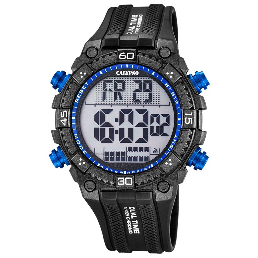 Deportes Calypso Herren-reloj PU-pulsera negro digital cuarzo-uhr Ziffernblatt negro azul UK5701/7