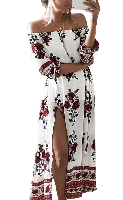 6d035ed558073b hochwertige BestWahl Damen Sommerkleid Lang Chiffon Böhmen Blumen Maxi  Beach Kleid Strandkleid Partykleid Vintage Kleid