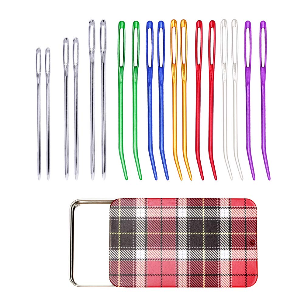 12 Pieces Yarn Needle, Tapestry Needle Bent Embroidery Needles Bent Tip Needles and 6 Pieces Large Eye Blunt Needles with Iron Box for Knitting Crochet 71GvleL6AML