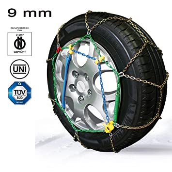 2 cadenas de nieve grupo 9.5 Rueda 20560 Diam 16 homologadas de acero 9 mm: Amazon.es: Coche y moto