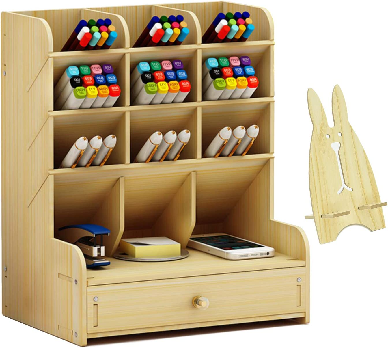Wood Desk Organizer With Drawer, Multipurpose Pencil/pen Holder, Wooden Desktop Stationary Organizer Shelf for Art Supplies, Easy Assembly Office Organization, Small Accessories Storage Table (White)