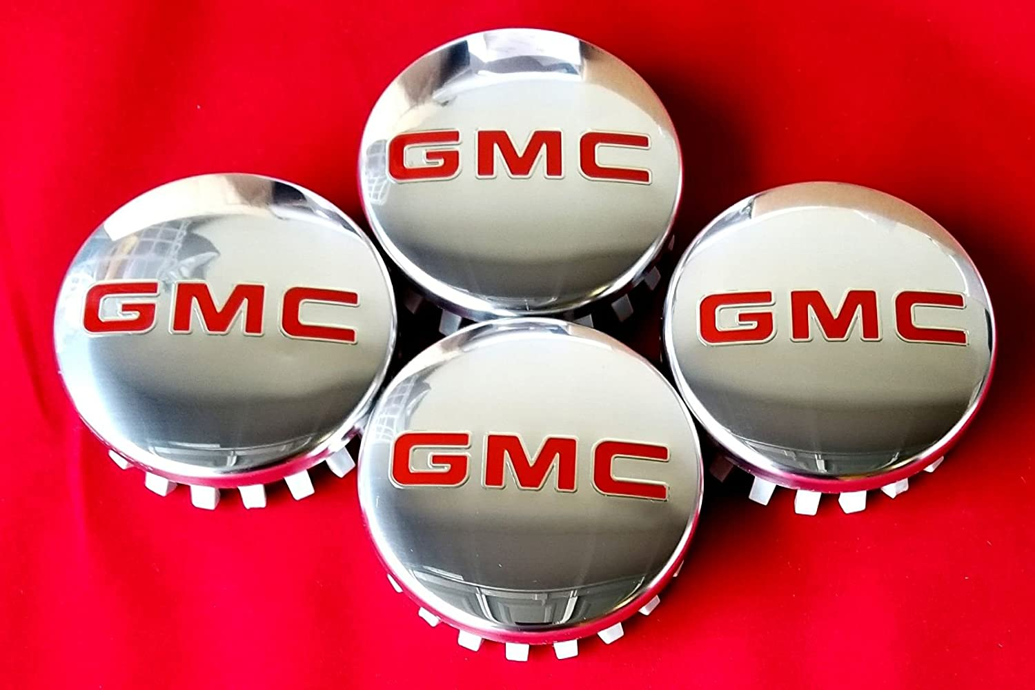 GMC Polished Aluminum Wheel Center Caps 22837060 83mm 3.25' Sierra Yukon Denali JDM WORLD