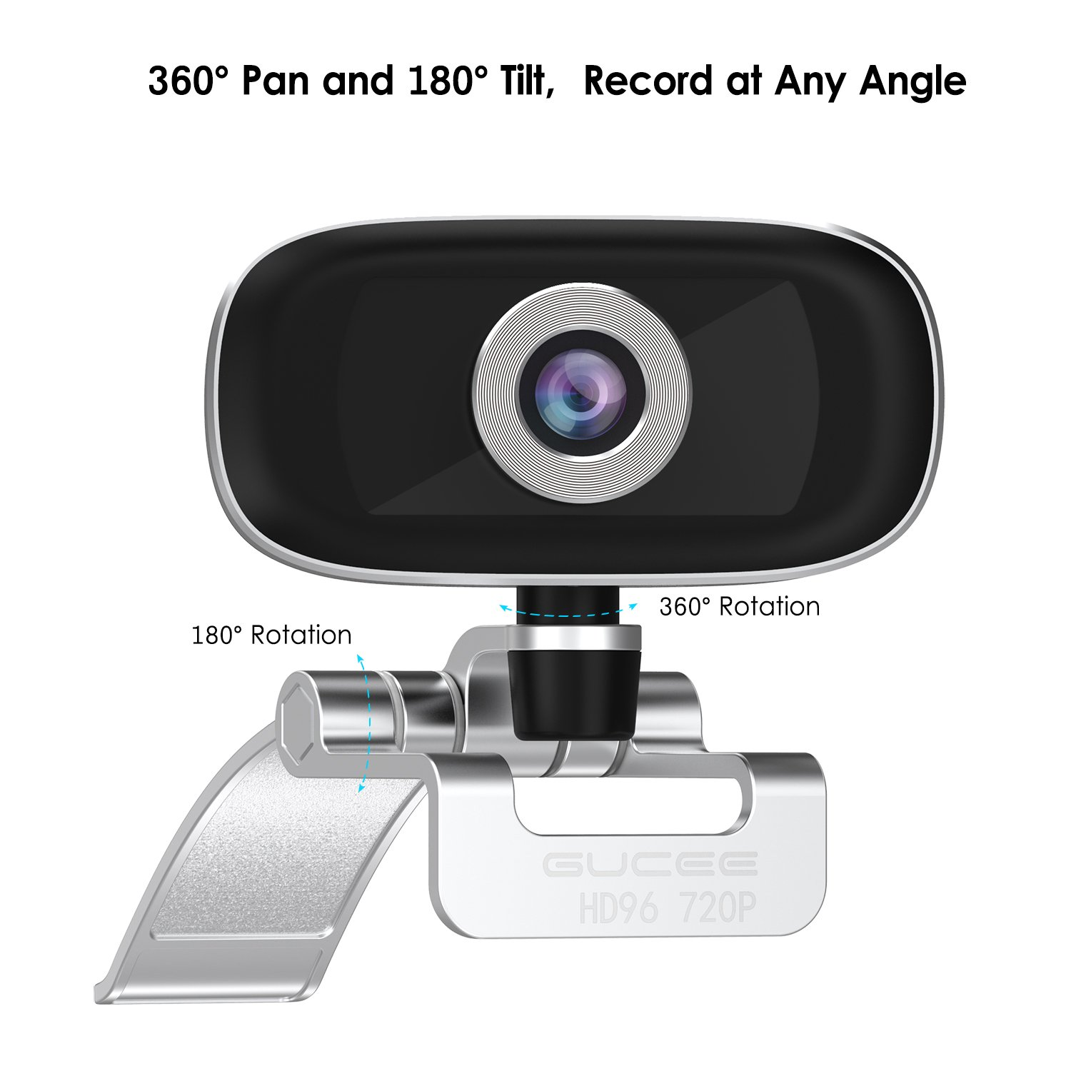GUCEE HD96 720P HD Webcam with Tripod Ready Base (Tripod Not Included), Web Camera HD Microphone Wide Angle USB Plug and Play, Widescreen Calling Recording for Skype, Win 7 / 8 / 10, Apple Mac OS X by iRush (Image #7)