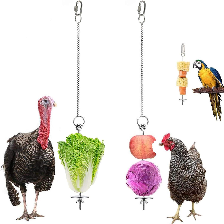YASAJI Chicken Veggies Skewer Fruit Holder for Hens Pet Chicken Vegetable Hanging Feeder Toy for Hens Large Birds