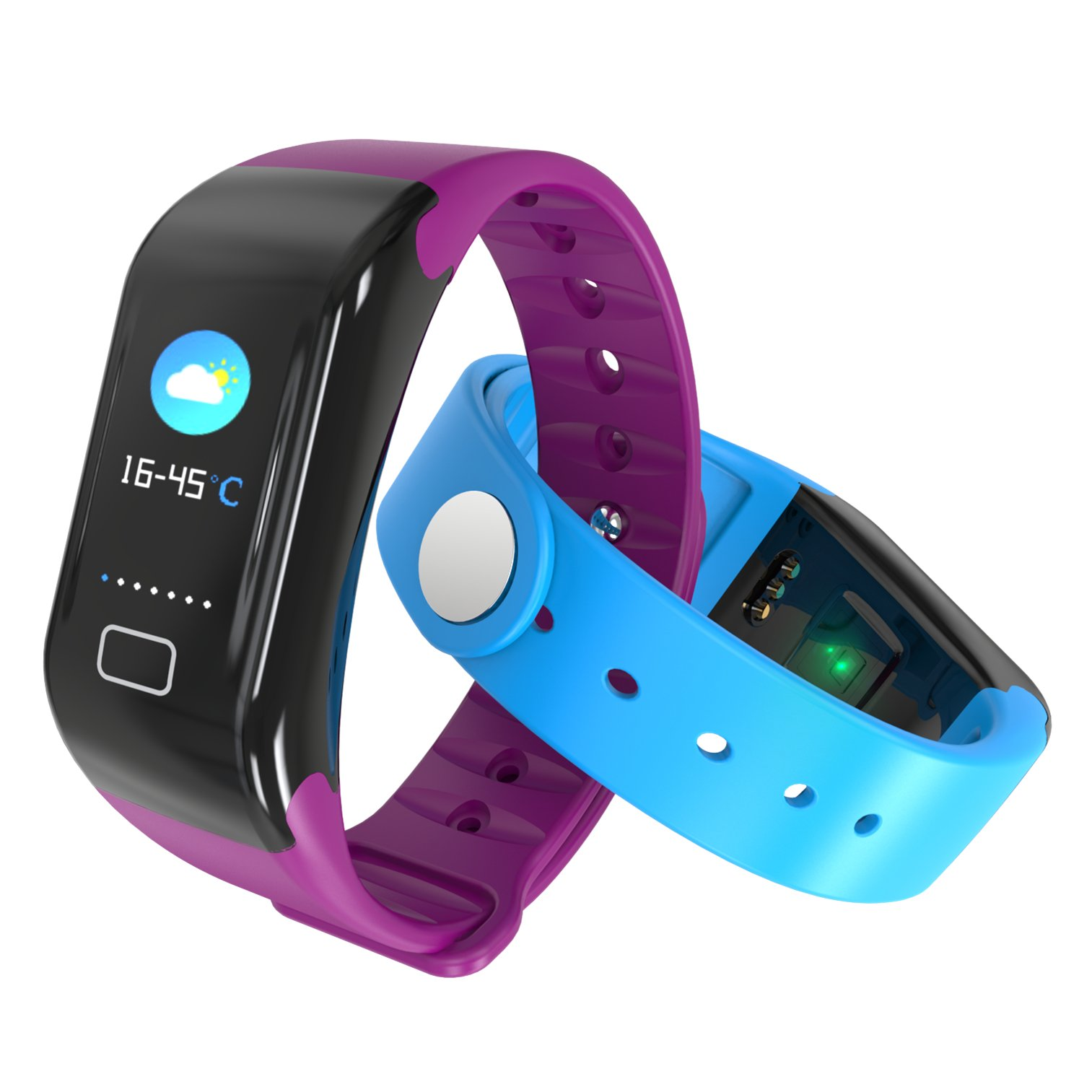 Smartwatch Bluetooth Heart Rate &Fitness blood pressure, health activity Bracelet Monitor,(Green)