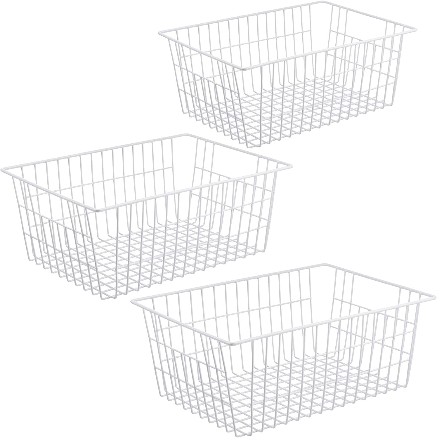iPEGTOP Metal Wire Stroage Baskets, Large Farmhouse Organizer Bins, Home Office Desk Shelf Freezer Storage for Bathroom, Pantry, Closets Organization Rack with Handles, 3 Pack, White
