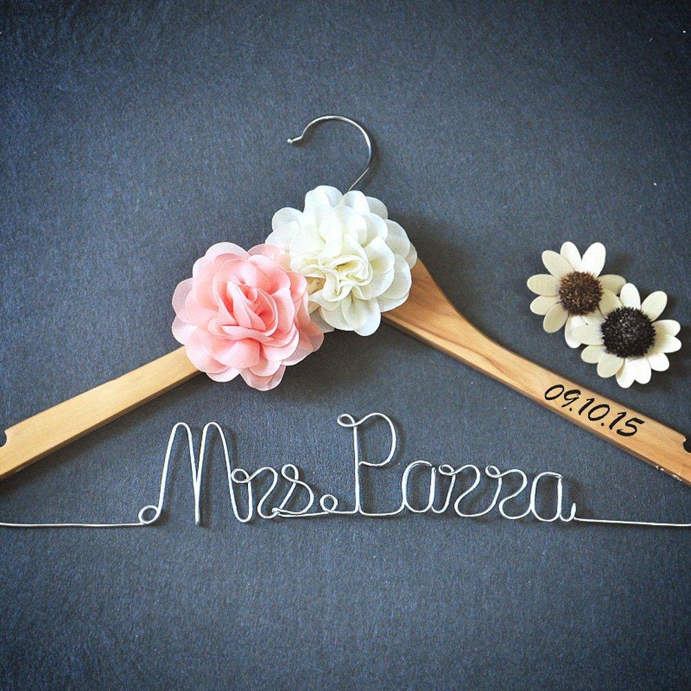 Custom Wedding Hanger With Flower, Personalized Wedding Dress Hanger Bridal Dress Hanger, Custom Bridal Shower Gift