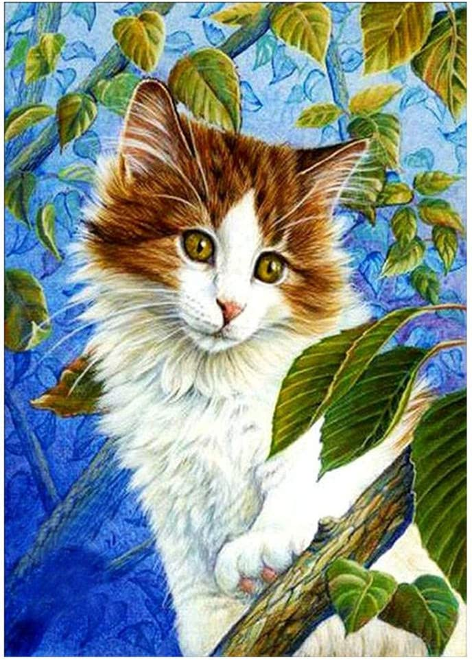samLIKE Cat on the Tree 5D Crystal Embroidery Paintings Rhinestone Diamond Painting Full Drill Square Art Kits for Living Room and Bedroom Decor 30X40cm