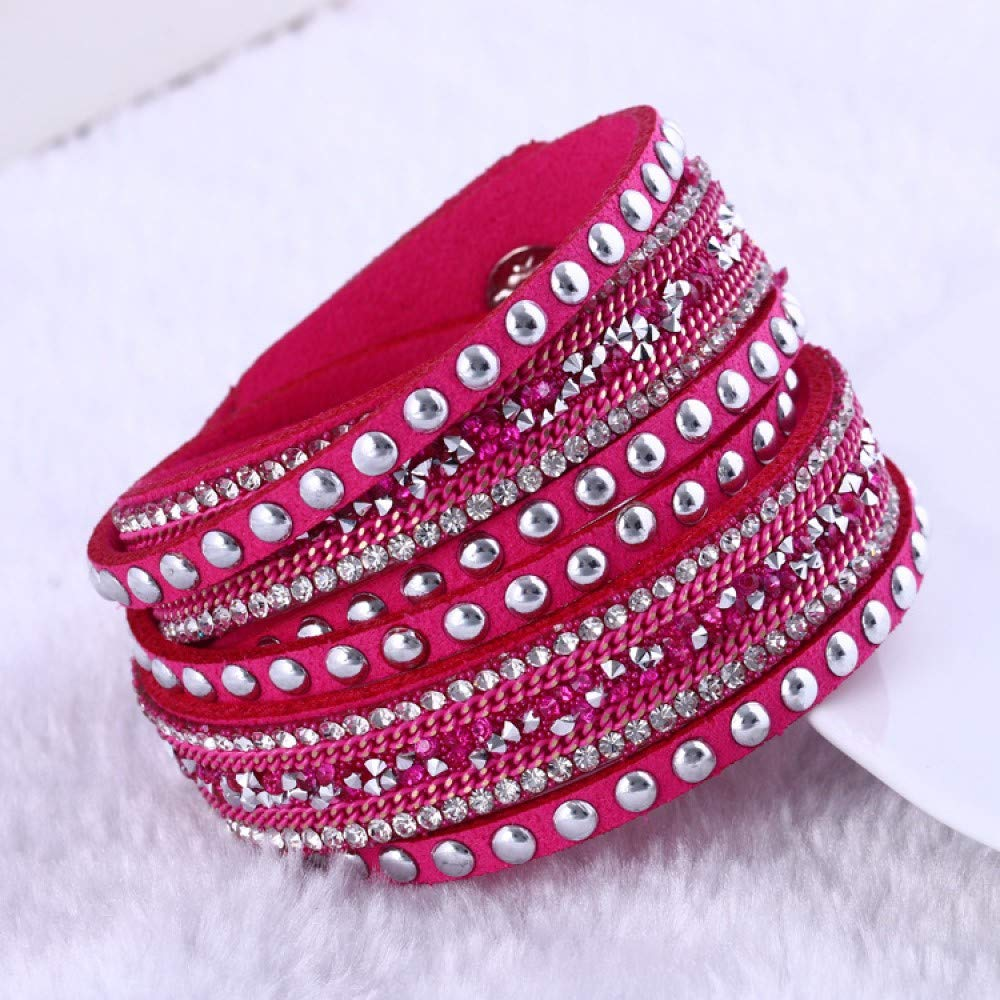 Zodiark Jewellery London Crystal Encrusted Multi Strand Double Wrap Slake Bracelet with Adjustable Strap in Hot Pink Suede with Silver Studded /& Chain Detail