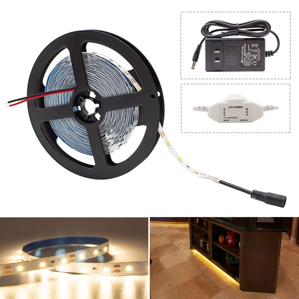 HitLights Warm White LED Light Strip Kit, 16.4 Feet - Includes Power Supply and Dimmer. 300 LEDs, 3000K, 72 Lumens per Foot. 12V DC by HitLights