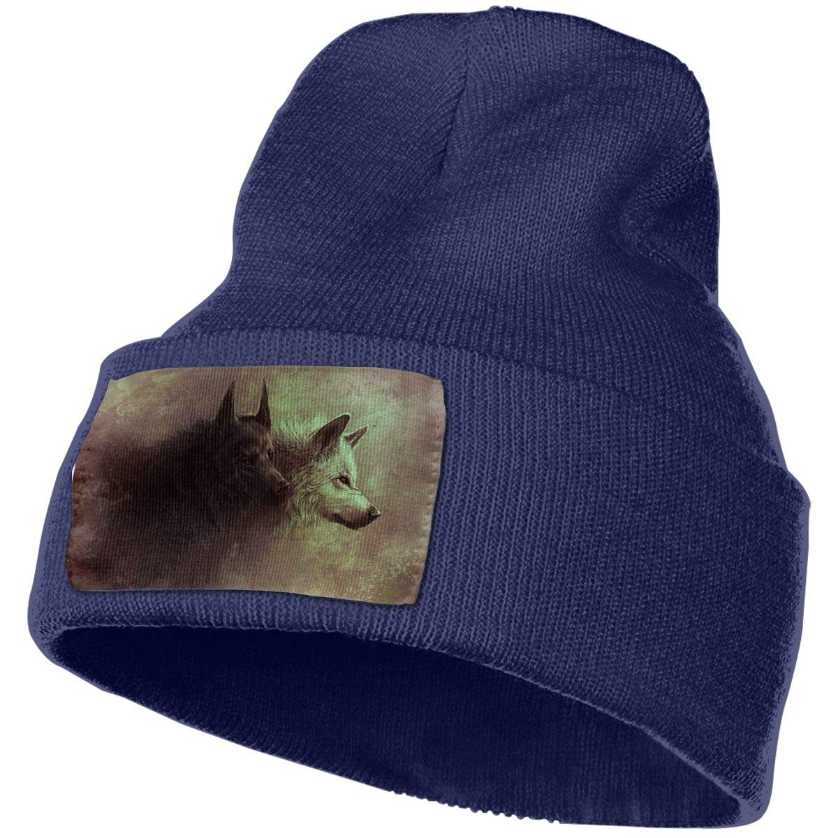 Wolf-Animals Warm Knit Winter Solid Beanie Hat Unisex Skull Cap
