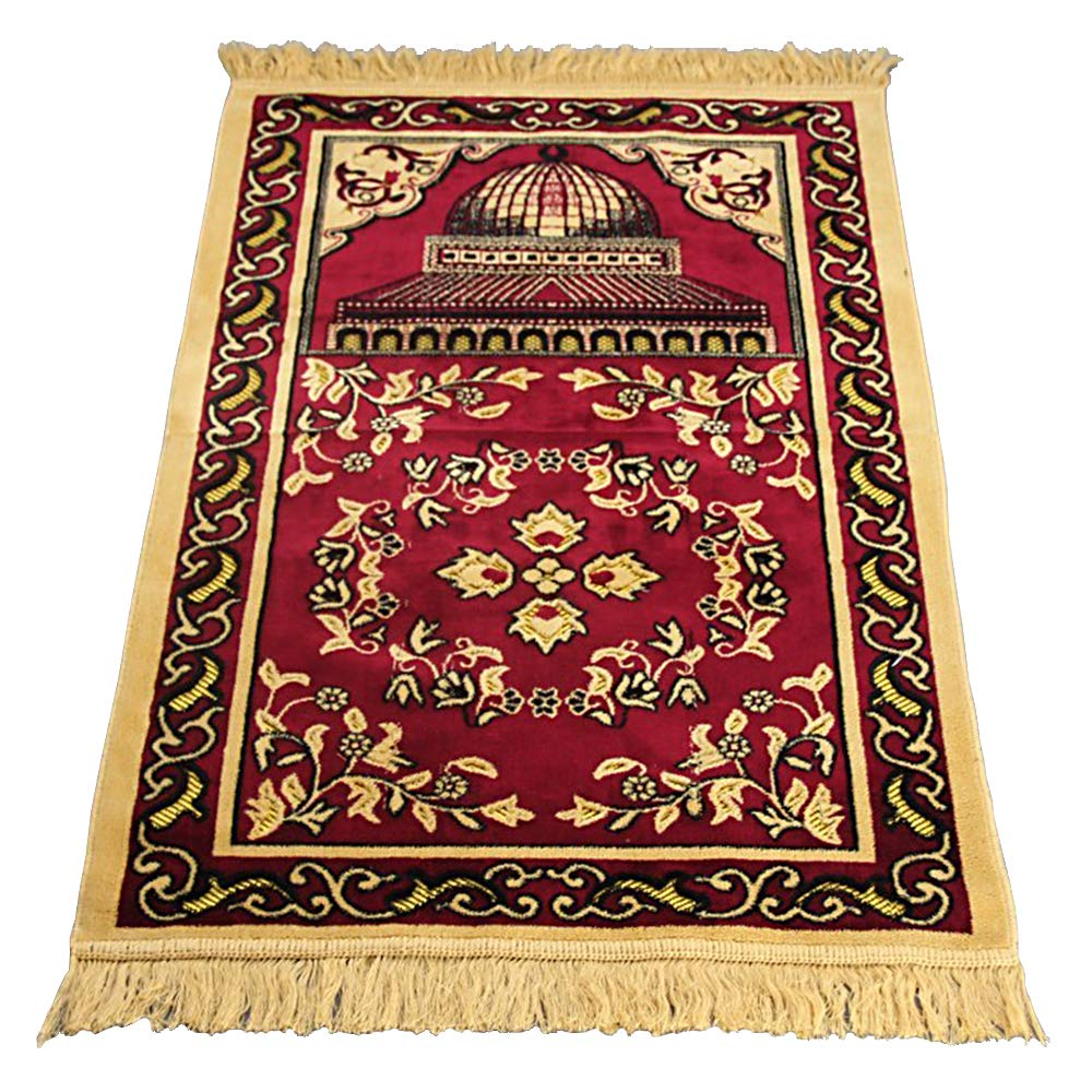 Homelex Turkish Islamic Muslim Cashmere Prayer Rugs Mat Ramadan Eid Gifts (Red)