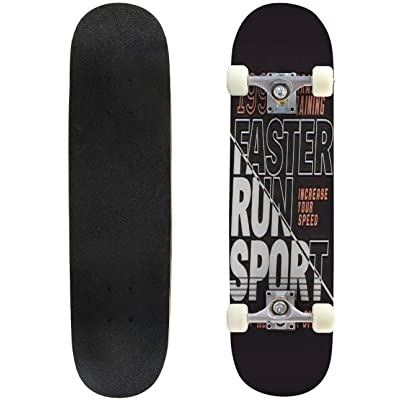 Classic Concave Skateboard Vector Illustration on a Theme of Marathon and Running in New York Longboard Maple Deck Extreme Sports and Outdoors Double Kick Trick for Beginners and Professionals : Sports & Outdoors