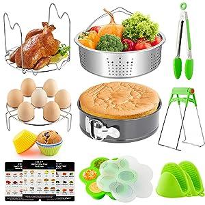 EPLST 18 Pieces Pressure Cooker Accessories Set Compatible with Instant Pot 6/8Qt-Steamer Basket, Springform Pan, Steamer Rack Trivet, Egg Bites Mold, Egg Rack, Kitchen Tongs, 3 Cheat, 6 Cake Cups