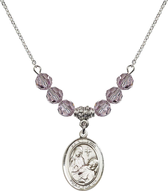 Bonyak Jewelry 18 Inch Rhodium Plated Necklace w// 6mm Light Purple February Birth Month Stone Beads and Saint Fina Charm