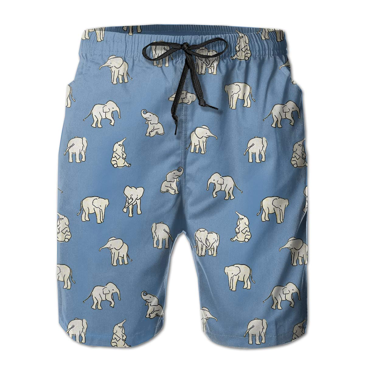 Mikonsu Little Baby Elephants Mens Swim Trunks Quick Dry Bathing Suits Beach Holiday Party Board Shorts White