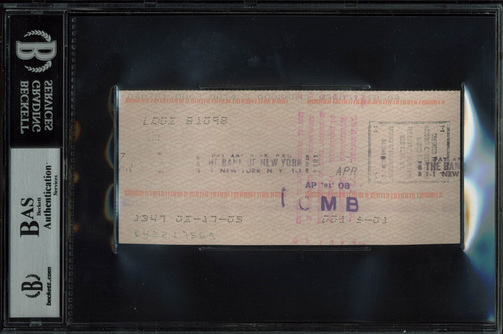 Greta Garbo Autographed Signed Personal Check Dated April 2 1981 Autographed Signed Bas Slabbed Certified Authentic