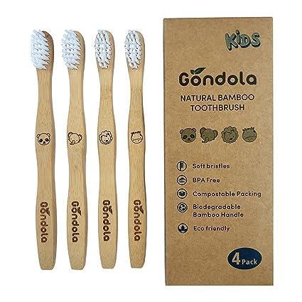 Gondola Cepillo de Dientes de bambú Natural, 4 Unidades, Tamaño Infantil, Respetuoso con