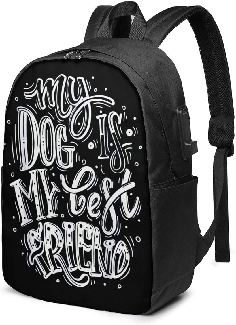 Aspariagus My Dog is My Best Friend Durable Laptop Travel Backpack College Bookbag with USB Charging Port Fit 17 Inch Laptops Unisex