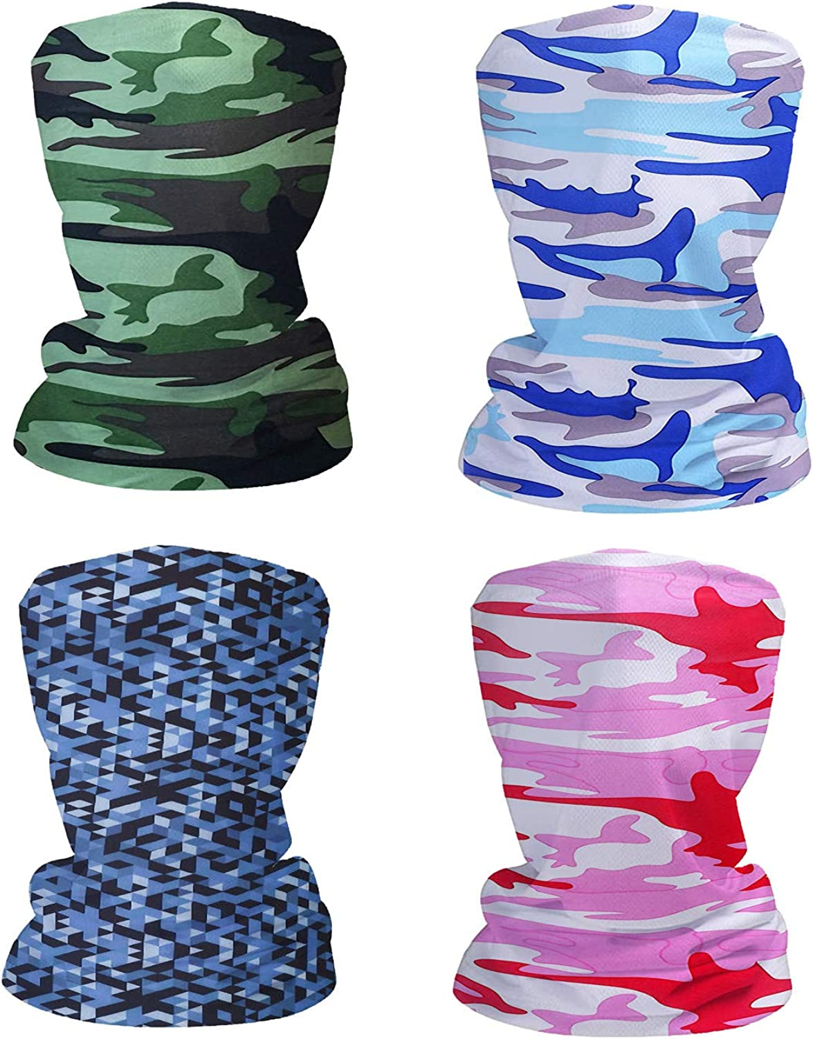 Fashion Face Dust Mask (4 PCS) Bandanas Sports & Casual Headwear Seamless Neck Gaiter, Headwrap, Balaclava, Helmet Liner