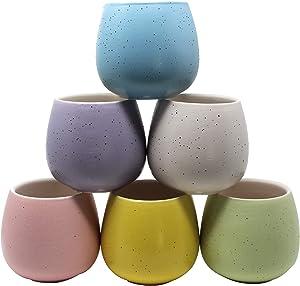 Juccini Succulent Planter Pots Multiple Color ~ Vibrant Colored Garden Pots ~ Ceramic Small Cactus Flower Plant Pots for Indoors Outdoor Home Garden Kitchen Decor (Great Plains, 6 Pack)