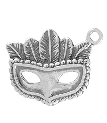 925 Sterling Silver Mardi Gras Mask with Feathers Charm