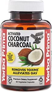 Yerba Prima Activated Coconut Charcoal, 60 Vegetarian Capsules