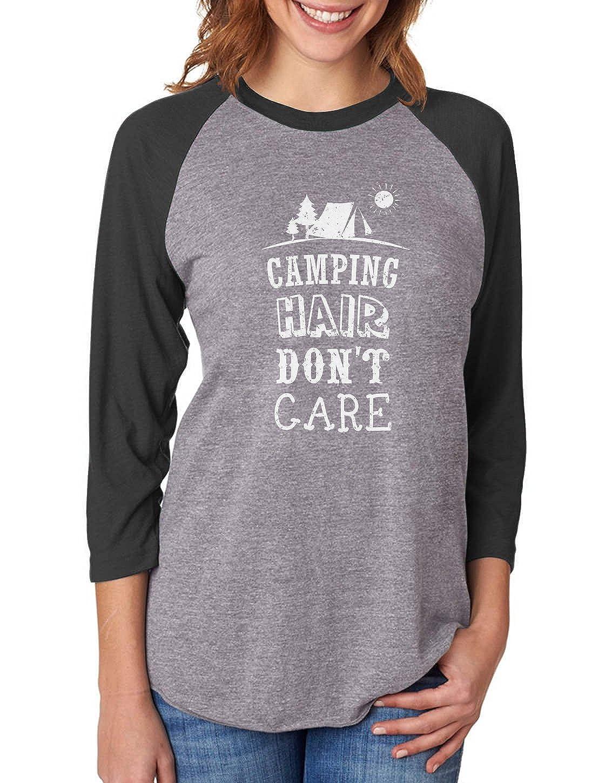 Tstars Camping Hair Don't Care Funny Camping 3/4 Women Sleeve Baseball Jersey Shirt GhPhhrtgJu