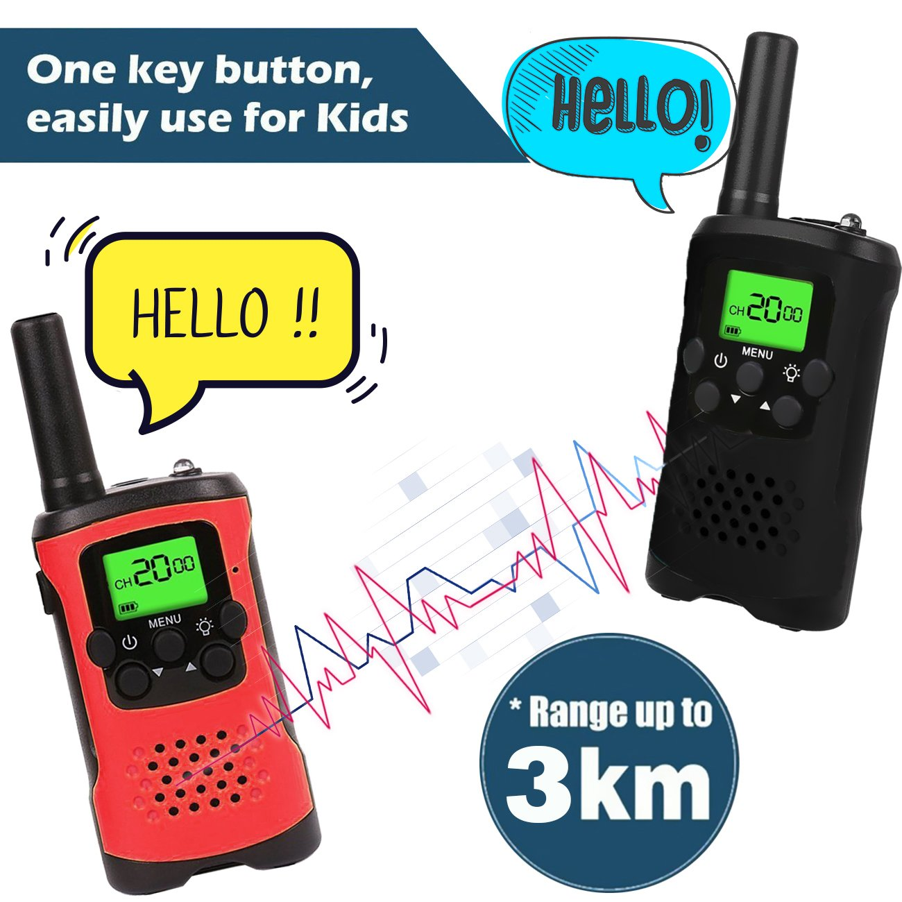 AMENON 2 Pack Walkie Talkies for Kids 22 Channel 2 Way Radio 3 Miles Long (Up to 5Miles) FRS/GMRS Handheld Mini Radio Toy for Boys Girls Outdoor Camping Hiking Birthday Christmas by AMENON (Image #4)