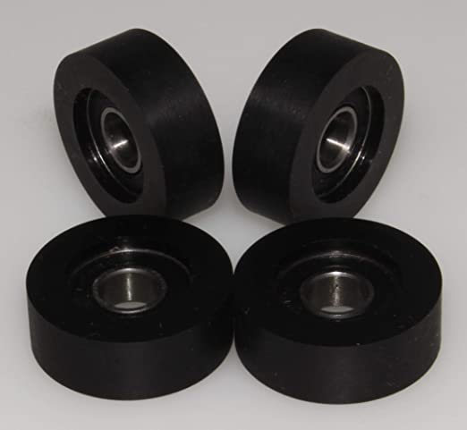 P23-10-6 23 mm Diameter - 10 mm Wide Pack of 4 x Polyurethane Wheel Hard Rubber Rollers Made in the EU