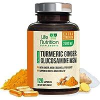 Turmeric Curcumin with Ginger, Glucosamine & MSM 2000mg 95% Curcuminoids, Bioperine...