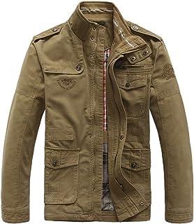 e08b876df4067 JIINN Hombre Primavera Otoño Invierno casual algodón clásico multi-bolsillo  Metal Zipper…