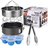 Esjay Accessories Set for Instant pot 5,6,8Qt Pressure Cooker,5-Pcs with Steamer Basket/Egg Steamer Rack/Silicone Egg Bites Molds/Non-Stick Springform Pan/Kitchen Tongs,Great Gift Idea
