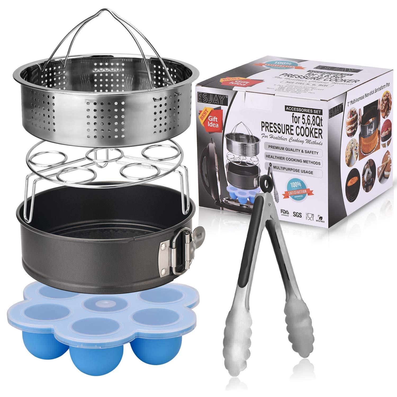 Esjay Accessories Set for Instant Pot-Fits 5,6,8Qt Instant pot Pressure Cooker,5-Pcs with Steamer Basket/Egg Steamer Rack/Egg Bites Molds/Non-stick Springform Pan/Kitchen Tongs,Best Gift Idea by Esjay (Image #1)