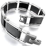 MunkiMix Acier Inoxydable Caoutchouc Bracelet Lien Poignet Ton d'Argent Noir Homme