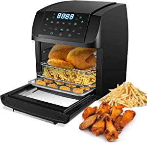 Nictemaw Air Fryer Toaster Oven 1500W Convection Roaster with Rotisserie & Dehydrator,10-in-1 Cooking Functions Auto Shut Off Air fryer 13 Quart Capacity with LED Touch Screen Panel Black