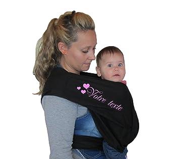 Porte bébé écharpe de portage sans noeud noir réglable personnalisé prénom a78df6eb3ba