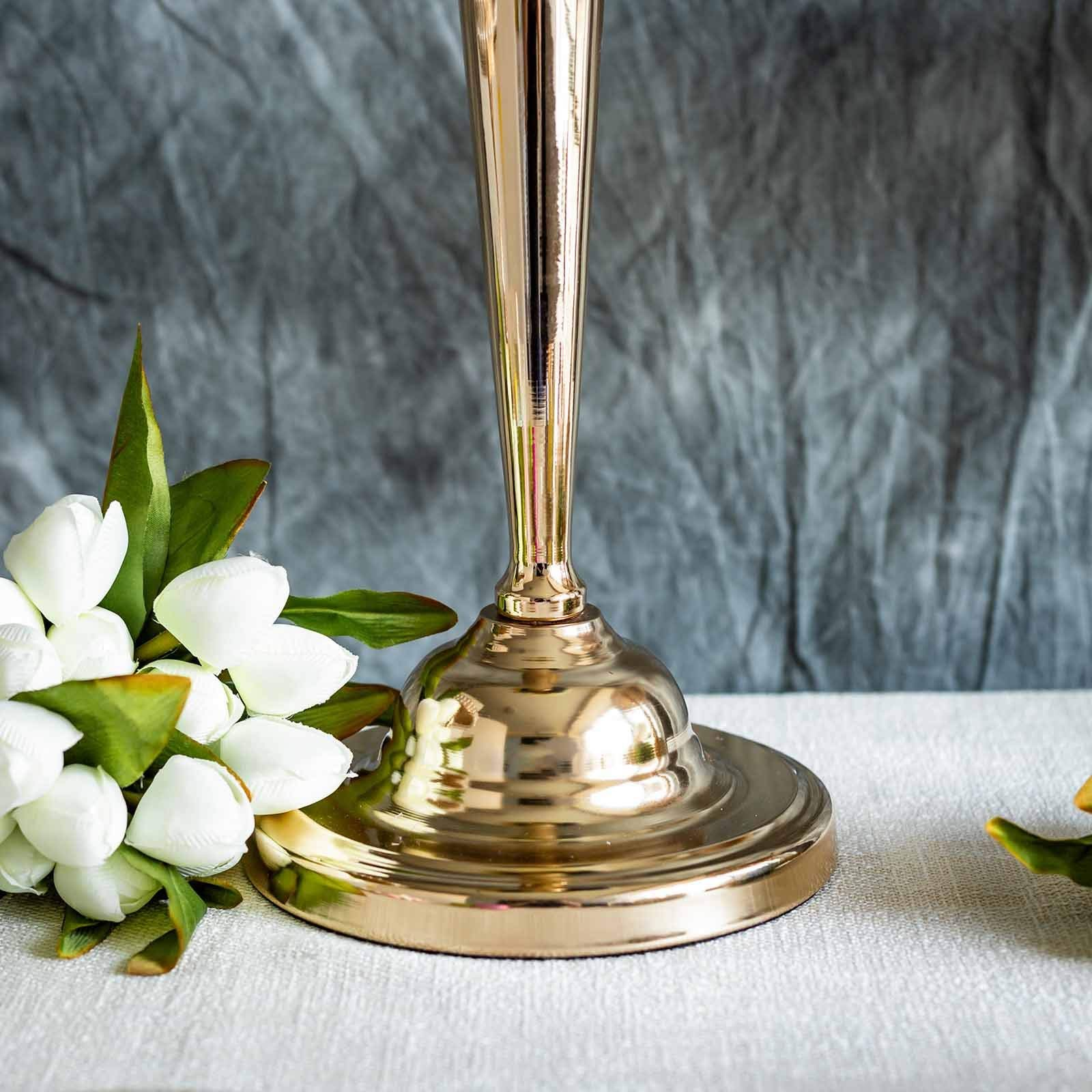 BalsaCircle 2 pcs 29-Inch Tall Gold Metallic Trumpet Vases Candle Holders - Wedding Party Dining Home Centerpieces Decorations by BalsaCircle Centerpieces (Image #2)