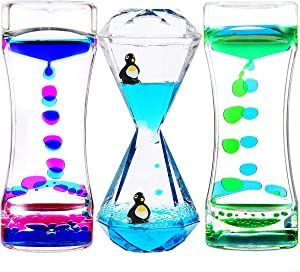 YUE MOTION Liquid Motion Bubbler Timer for Sensory Toys, Fidget Toy, Children Activity, Calm Relaxing Desk Toys, Anxiety Toys, Autism Toys, ADHD Fidget Toys, Assorted Colors, Pack of 3(Style#1)