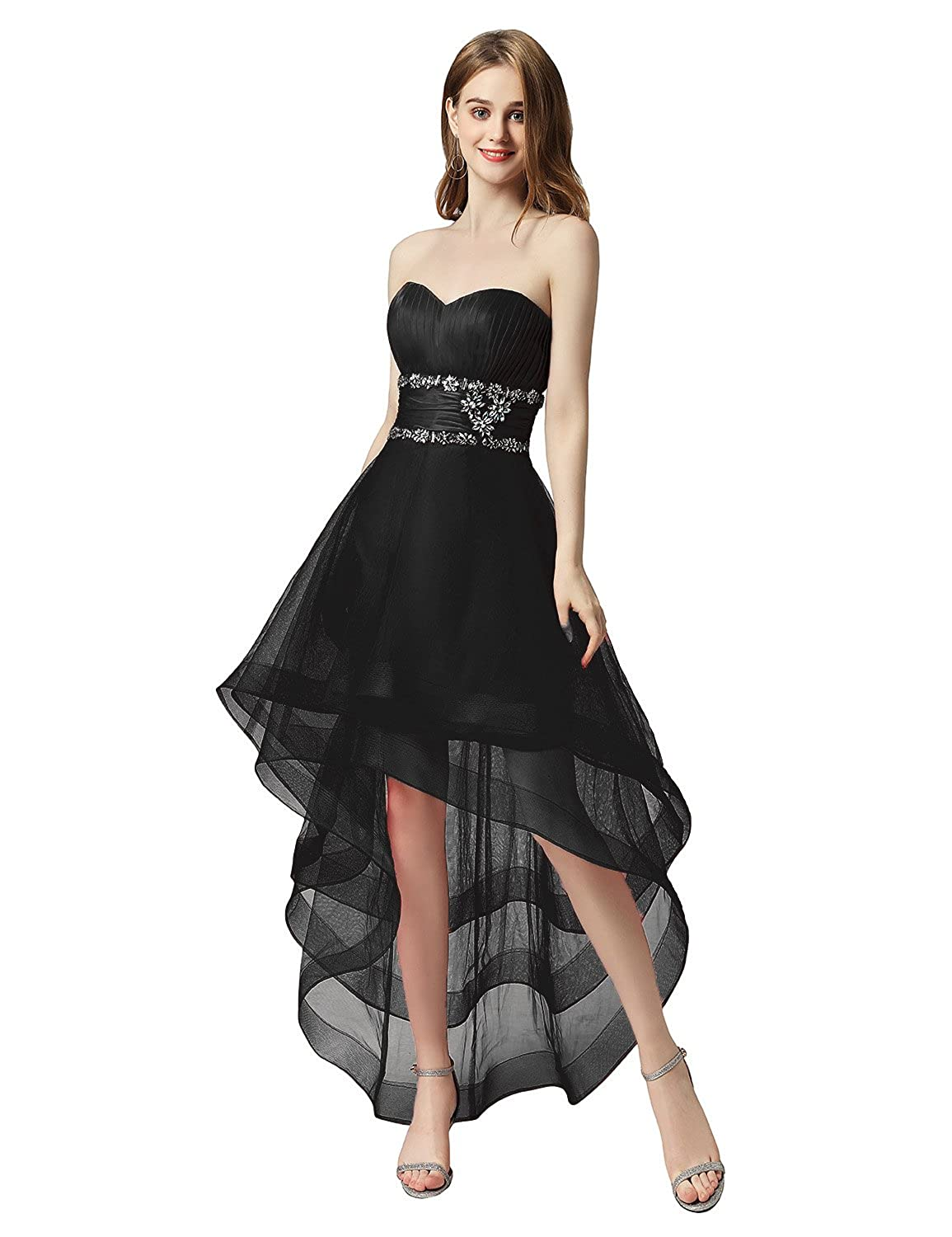 014black Sarahbridal Women's Tulle HiLow Beading Prom Dresses Evening Homecoming Cocktail Gowns