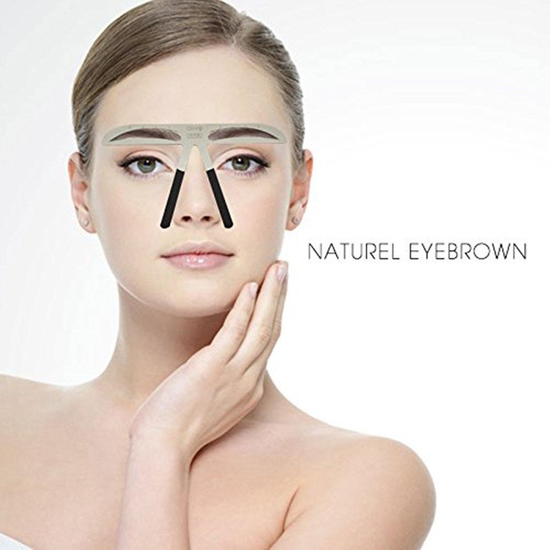 Metal Cejas Grooming Plantilla Card - Namee Brow Perfection Stencils Permanente Eyebrow Herramientas Shaping Plantillas DIY Maquillaje Belleza Accesorios (NATURAL EYEBROW)