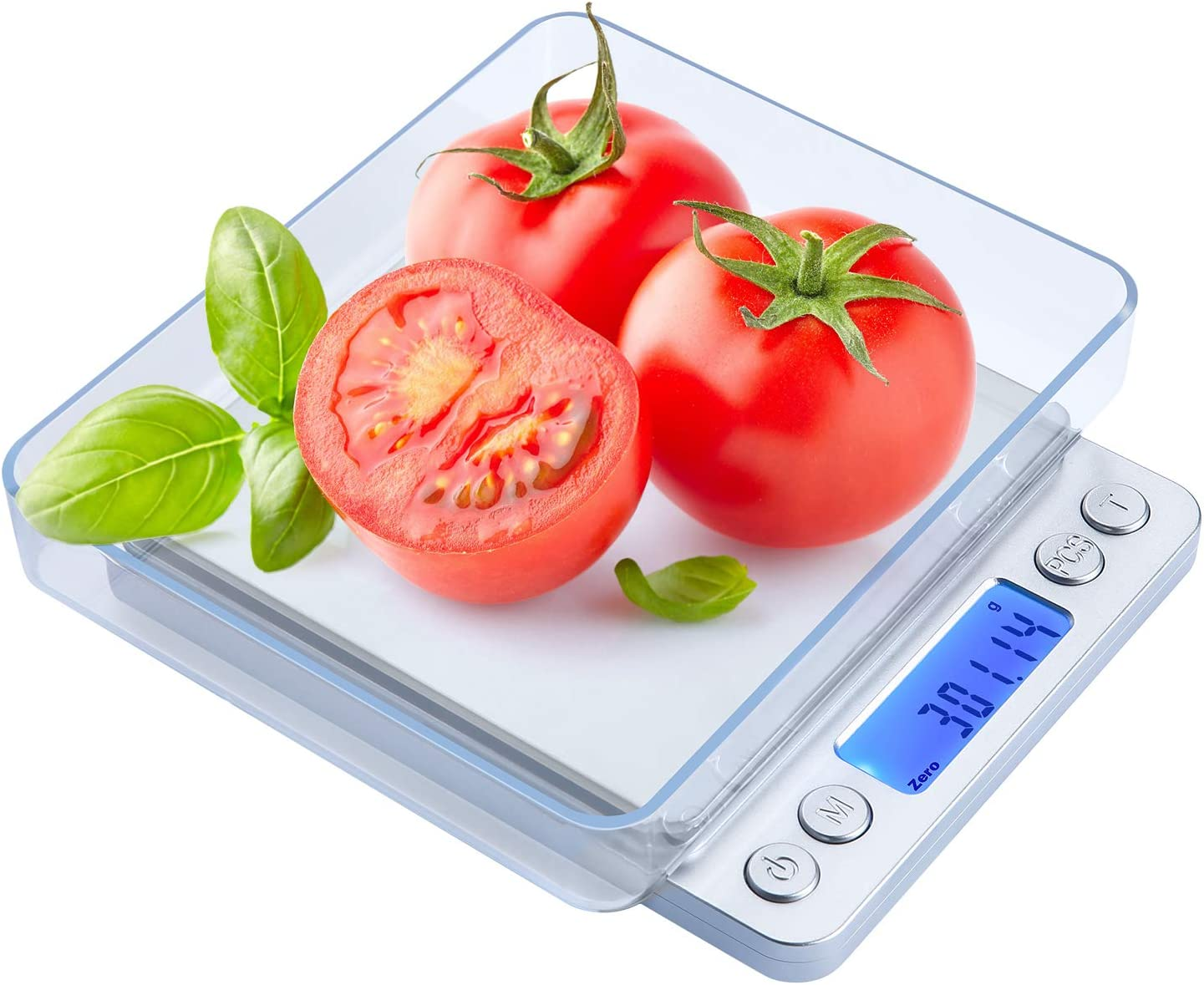 Digital Kitchen Scale, 500g/0.01g Cooking Food Scale with LCD Display, 2 Trays, 6 Units, Auto Off, Tare, PCS Function, Stainless Steel, Battery Included