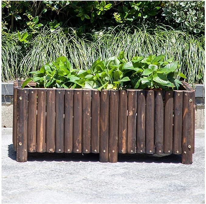 ZHANWEI Valla de jardín Bordura de jardín Rectángulo Caja De Siembra Madera Maciza Cama De Flores Al Aire Libre Patio Dividir, 11 Tamaños (Color : Brown, Size : 100x40x50cm): Amazon.es: Jardín